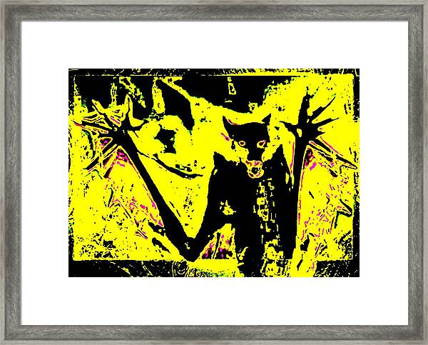 Black On Yellow Dog-man Framed Print