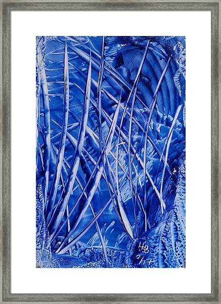 Abstract Blues Encaustic Framed Print