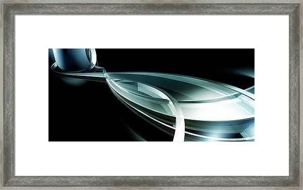 Abstract Curved Lines, Leaf Shape Framed Print