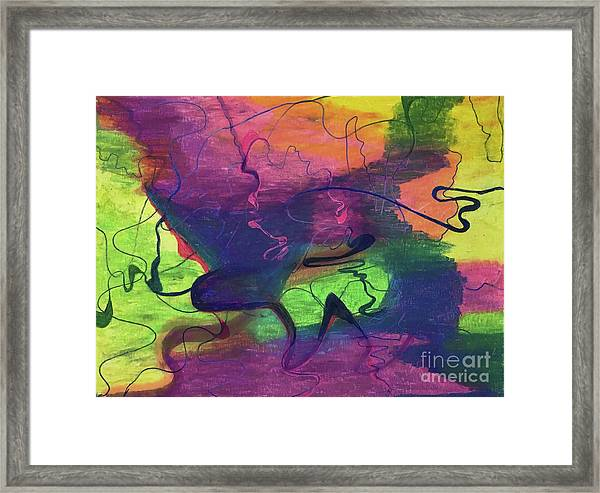 Colorful Abstract Cloud Swirling Lines Framed Print