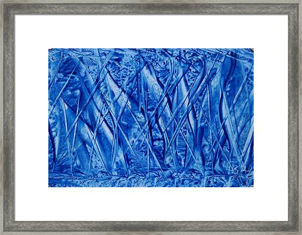 Abstract Encaustic Blues Framed Print