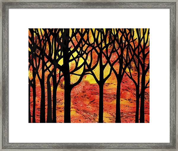 Abstract Fall Forest Framed Print