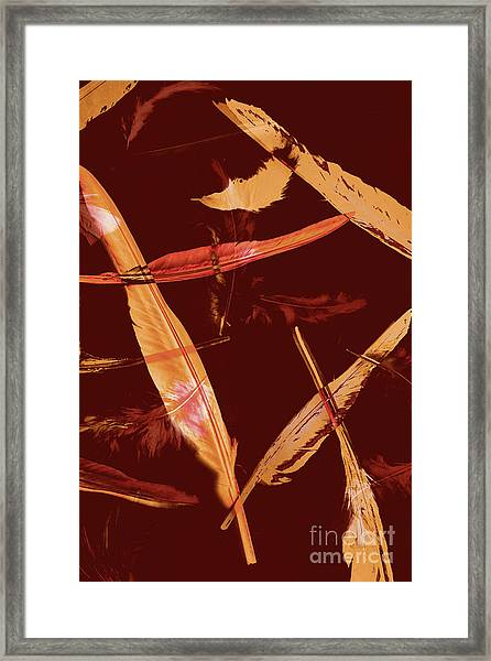 Abstract Feathers Falling On Brown Background Framed Print