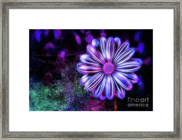 Abstract Glowing Purple And Blue Flower Framed Print