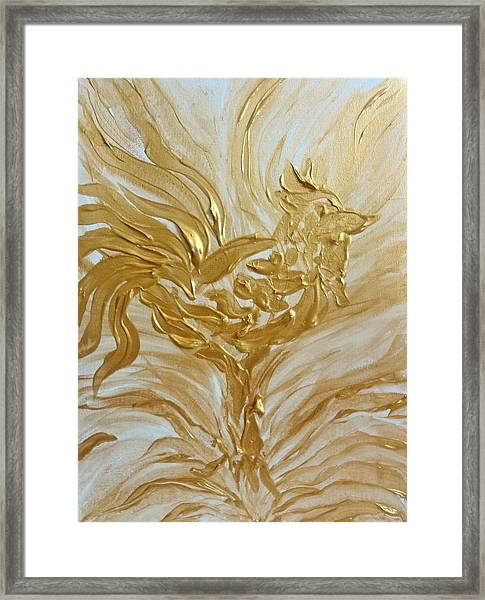 Abstract Golden Rooster Framed Print