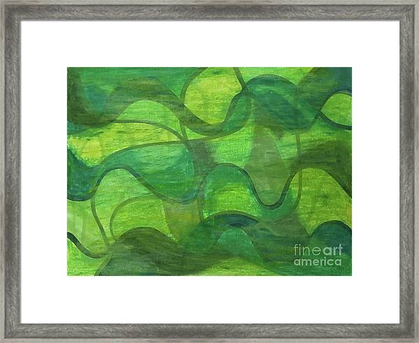 Abstract Green Wave Connection Framed Print