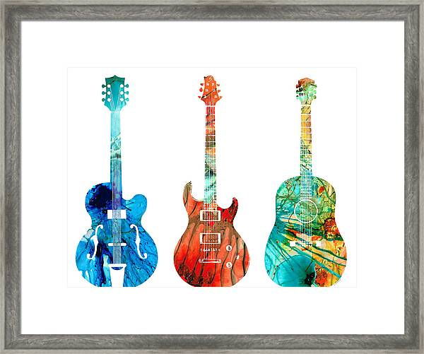 Abstract Guitars By Sharon Cummings Framed Print
