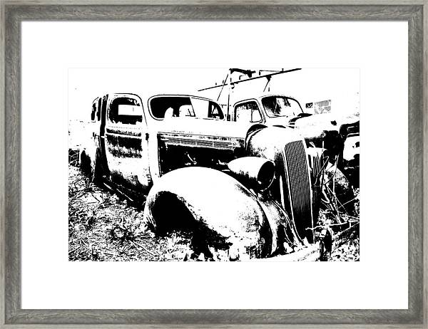 Abstract High Contrast Old Car Framed Print by MIke Loudemilk