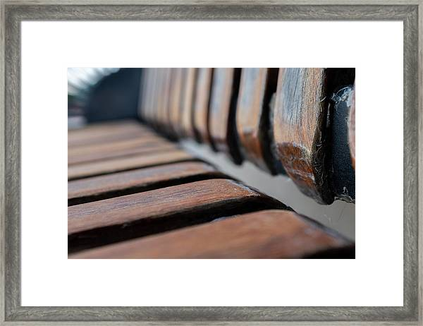 Abstract Image Of A Park Bench Near The Water In Green Bay Wisconsin Framed Print