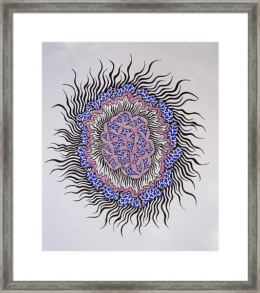 Abstract In Blue And Magenta Framed Print