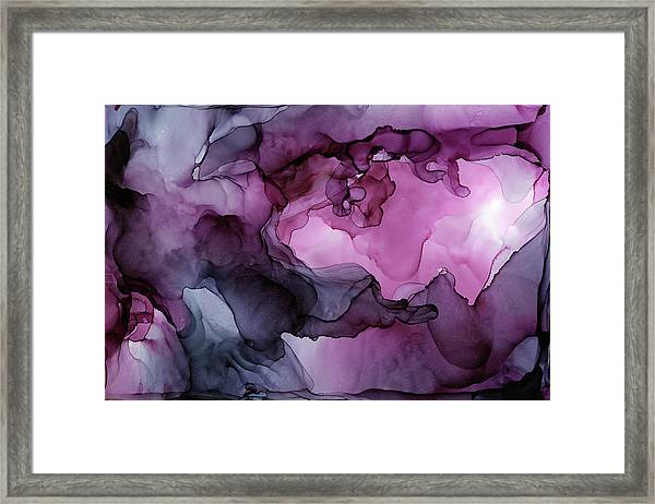 Abstract Ink Painting Plum Pink Ethereal Framed Print