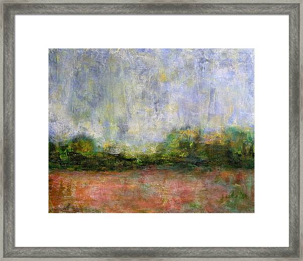 Abstract Landscape #310 - Spring Rain Framed Print