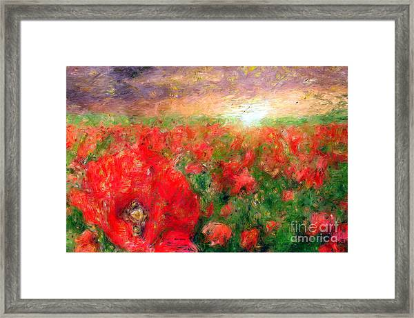 Abstract Landscape Of Red Poppies Framed Print