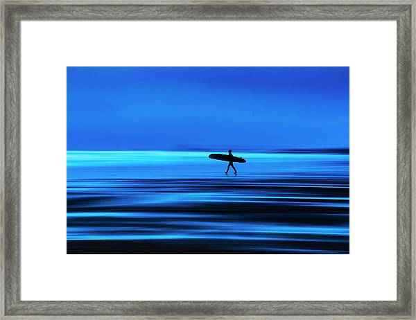 Abstract Lone Windsurfer, Widemouth, Cornwall. Framed Print