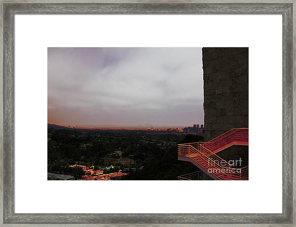 Abstract Mixed Media Getty View Los Angeles California  Framed Print