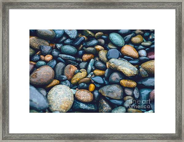 Abstract Nature Tropical Beach Pebbles 923 Blue Framed Print