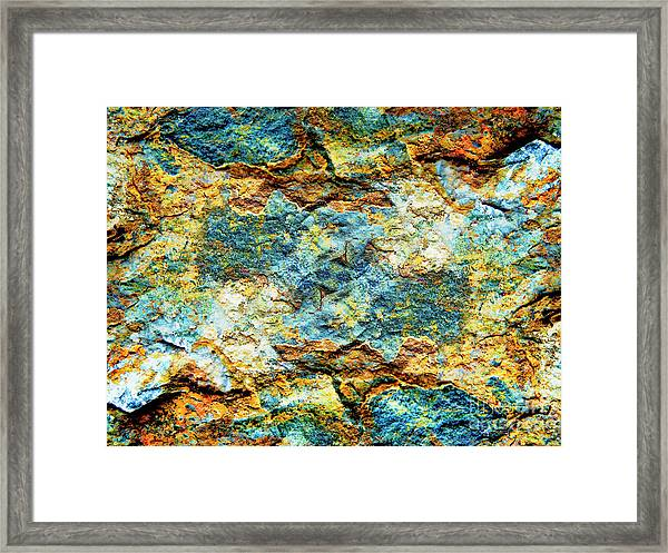 Abstract Nature Tropical Beach Rock Blue Yellow And Orange Macro Photo 472 Framed Print