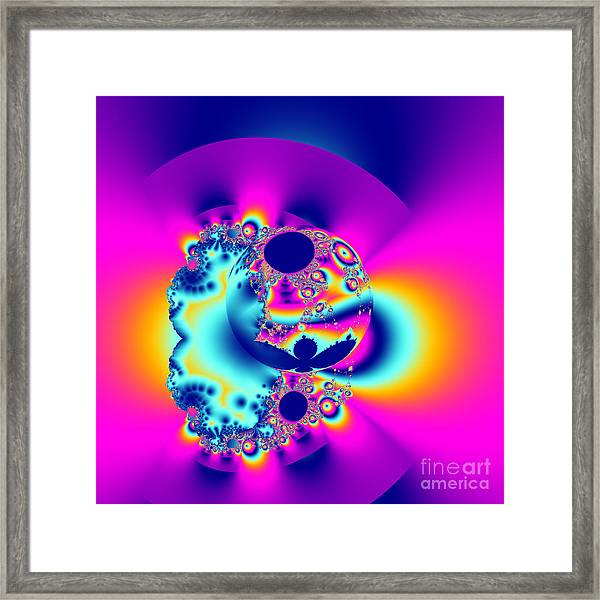 Abstract Pink And Turquoise Fractal Globe Framed Print