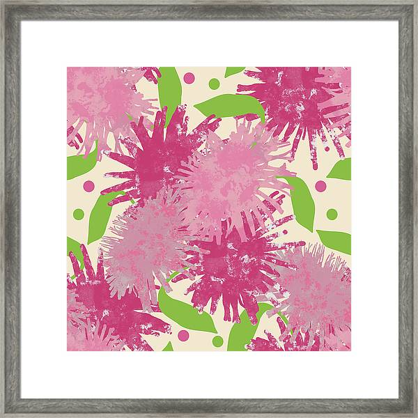 Abstract Pink Puffs Framed Print