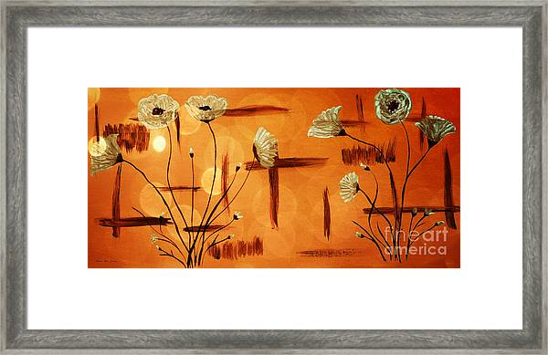 Framed Print featuring the painting Expressive Abstract Floral A42016 by Mas Art Studio