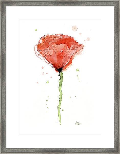 Abstract Red Poppy Watercolor Framed Print