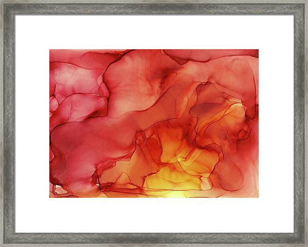 Abstract Red Yellow Alcohol Ink Painting - Red Sunset Framed Print