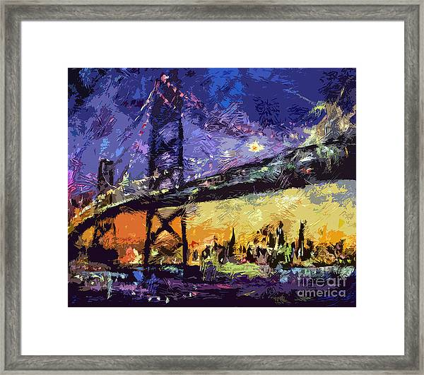 Abstract San Francisco Oakland Bay Bridge At Night Framed Print
