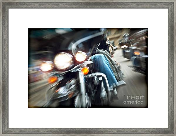 Abstract Slow Motion Bikers Riding Motorbikes Framed Print by Anna Om
