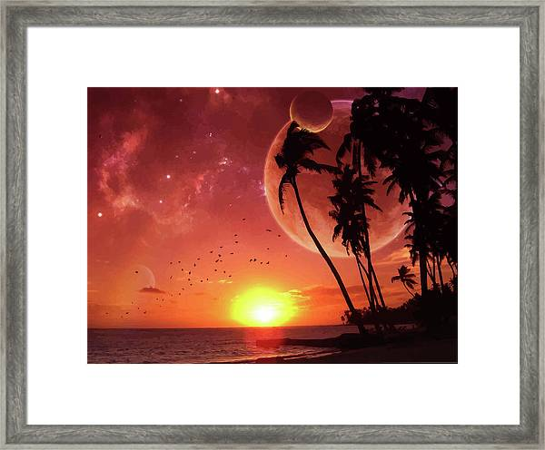 Abstract Sunset On Tropic Isle Framed Print