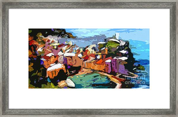 Abstract Vernazza Italy Cinque Terre Framed Print