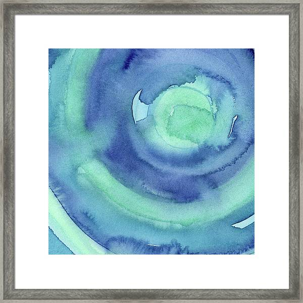 Abstract Watercolor Aqua Blues Framed Print