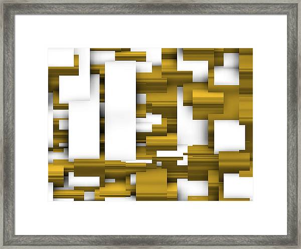 Abstract White And Gold. Framed Print