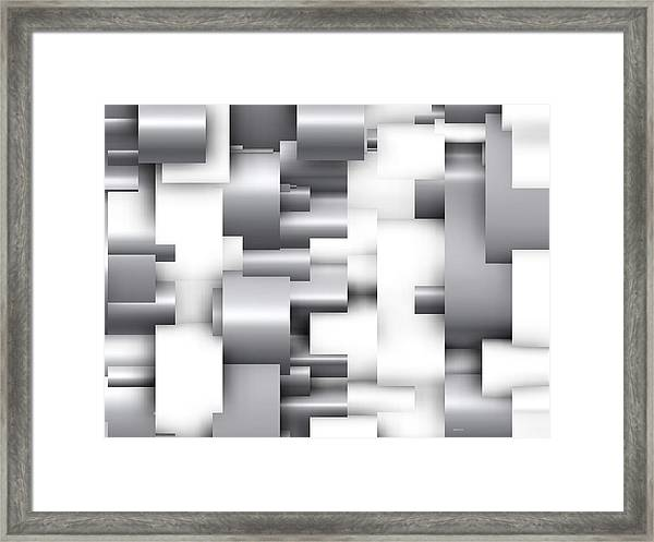 Abstract White And Grey Framed Print