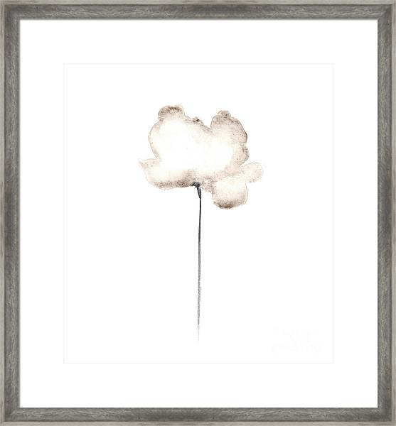 Abstract White Poppy Watercolor Art Print Painting Framed Print