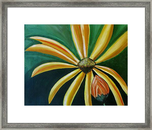 Abstract Yellow Sunflower Art Floral Painting Framed Print