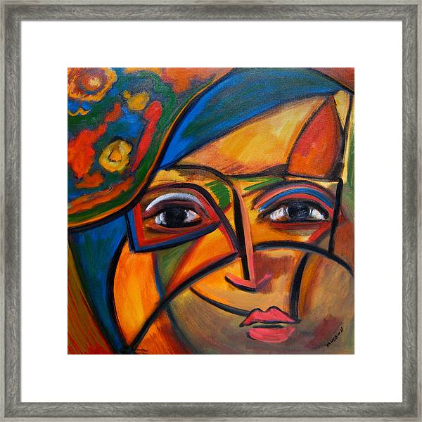 Abstract Woman With Flower Hat Framed Print