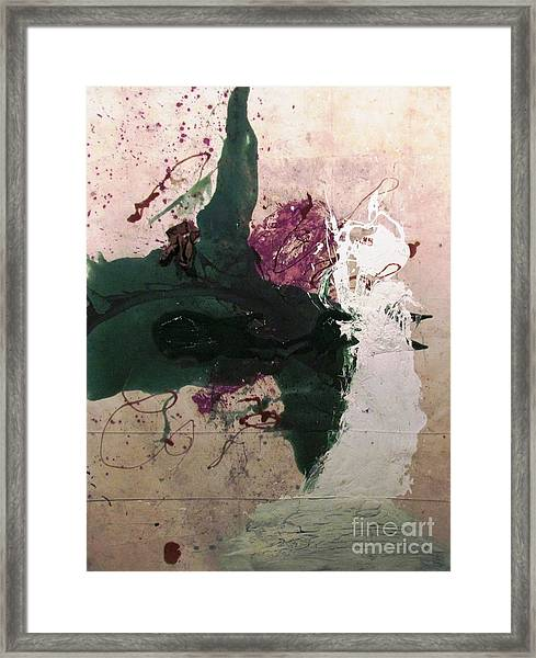 Abstraction White Red Green  Framed Print