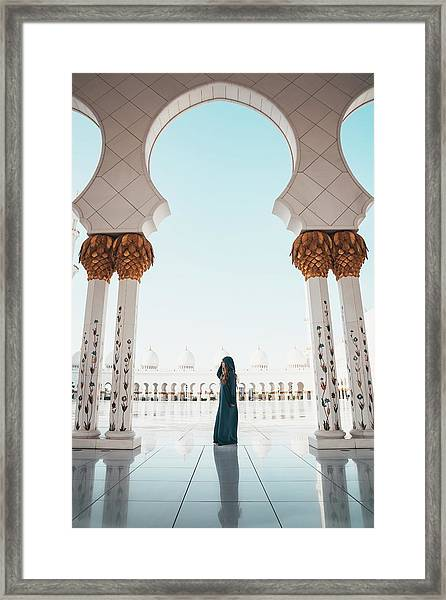 Framed Print featuring the photograph Abu Dhabi Mosque by Oliver Sjostrom