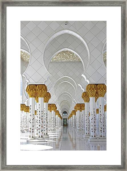 Framed Print featuring the photograph Abu Dhabi Mosque by Rachelle Magpayo