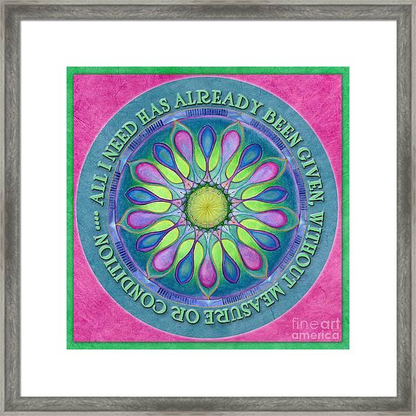 Abundance Mandala Prayer Framed Print