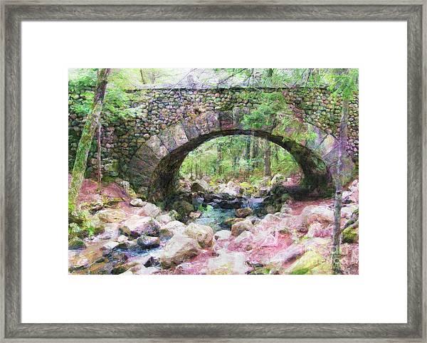 Acadia National Park - Cobblestone Bridge Abstract Framed Print