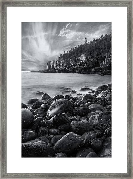 Acadia Radiance - Black And White Framed Print