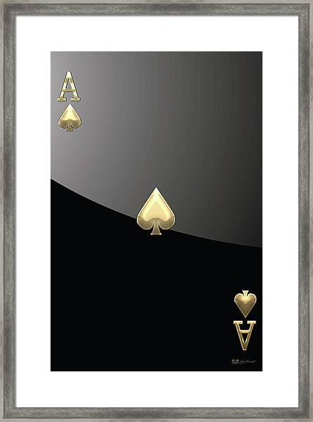 Ace Of Spades In Gold On Black   Framed Print
