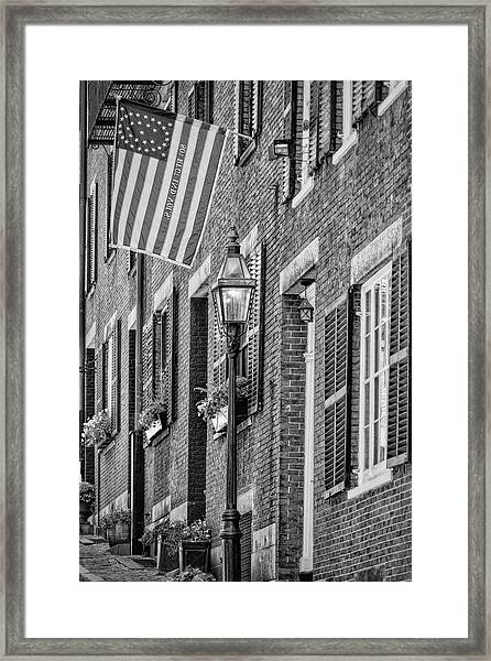 Framed Print featuring the photograph Acorn Street Details Bw by Susan Candelario