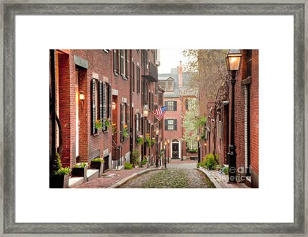 Framed Print featuring the photograph Acorn Street by Susan Cole Kelly