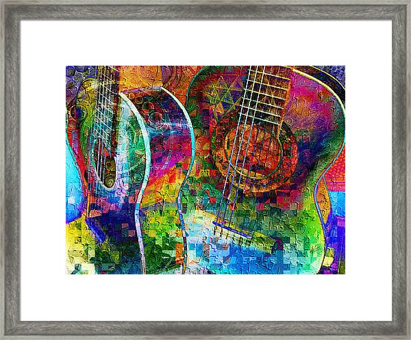 Acoustic Cubed Framed Print