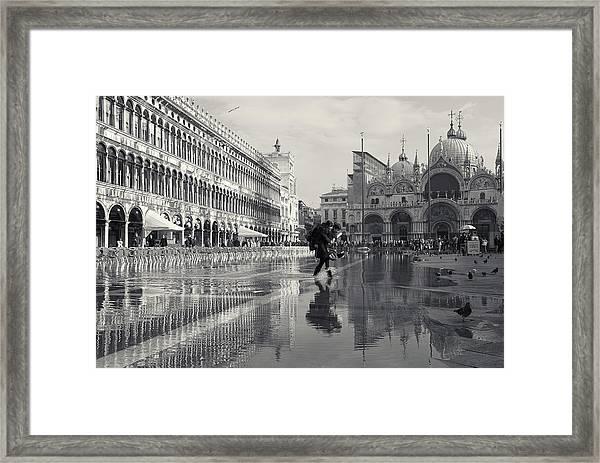 Acqua Alta, Piazza San Marco, Venice, Italy Framed Print