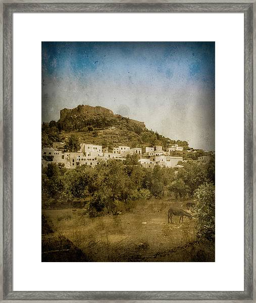 Framed Print featuring the photograph Rhodes, Greece - Acropolis Of Lindos by Mark Forte