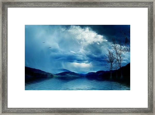 Across The Clouds I See My Shadow Fly  Framed Print