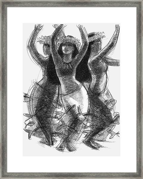 Action Song Dancers With Fish Pareu Framed Print